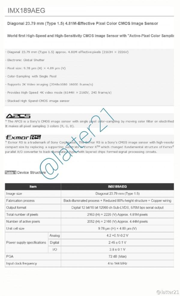 หลุดสเปค Sony IMX189AEG CMOS เซ็นเซอร์กล้องตัวใหม่