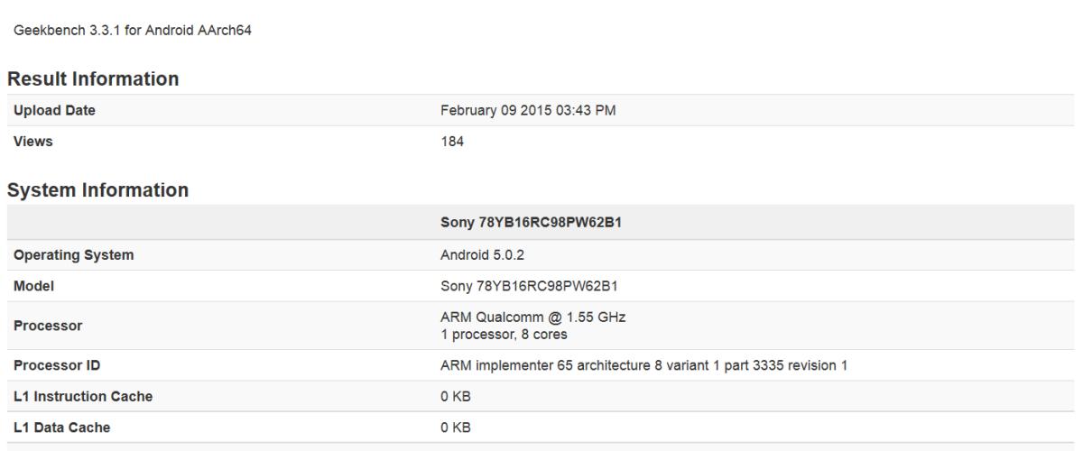 สมาร์ทโฟน Sony นิรนามโผล่บน Geekbench – มาพร้อม Snapdragon 810 RAM 3GB และ Android 5.0.2