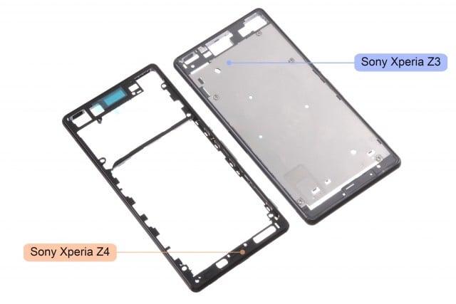 หลุดภาพกรอบเครื่อง Xperia Z4 วางเทียบกับของ Z3