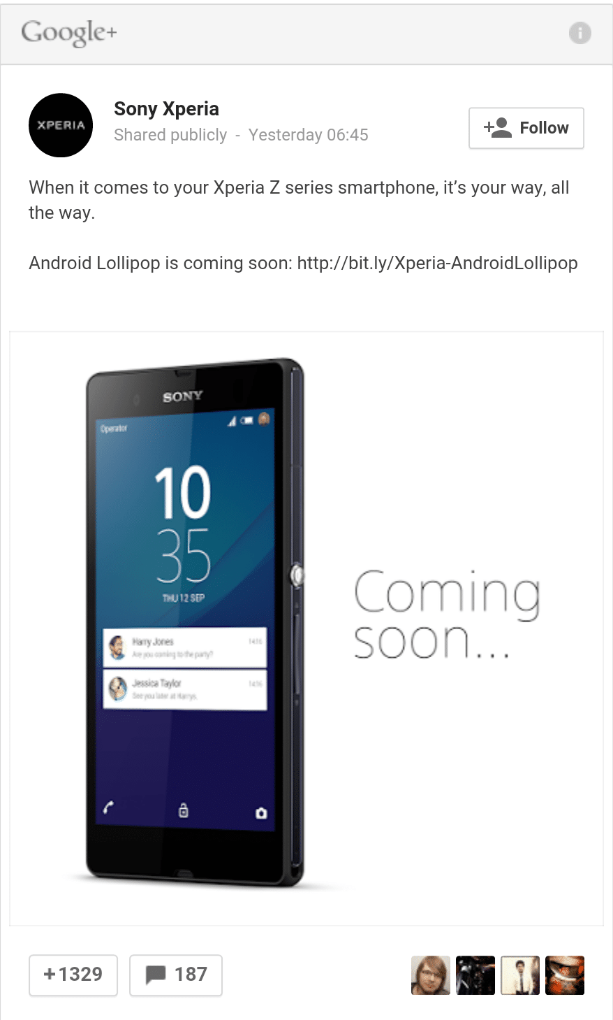 Sony Google+ teases Xperia Z android lollipop