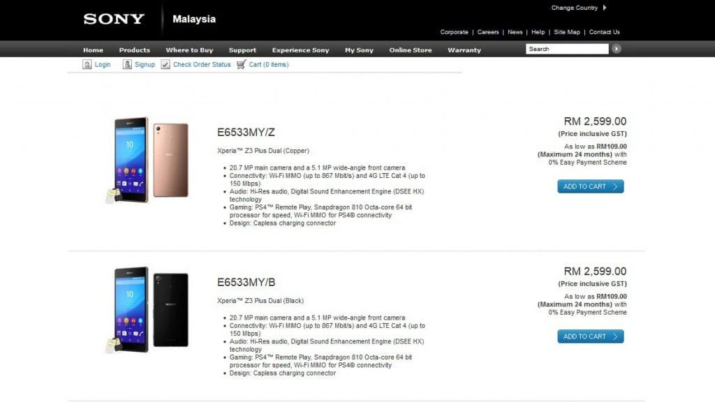 xperia z3 plus in store malaysia