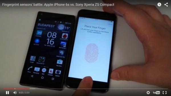 จับ Xperia Z5 Compact ไปแข่งปลดล็อกด้วยลายนิ้วมือกับ iPhone 6s