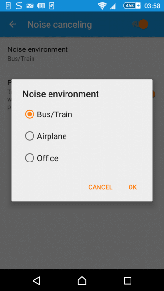 noise cancelling environment