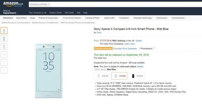 Amazon อังกฤษเปิดให้จอง Xperia X Compact แล้ว – เคาะราคา 17,4XX บาท