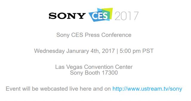 Sony เตรียมจัดงานเปิดแถลงภายในงาน CES 2017 ในวันที่ 4 มกราคม